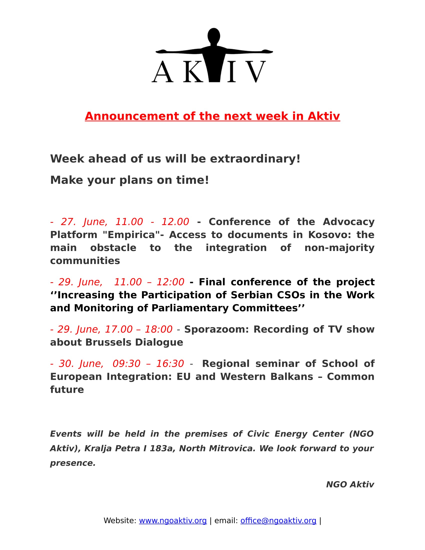 Announcement of events for the next week: cinema-Moscow :) 6