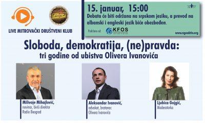 MSC debata: Sloboda, demokratija, (ne)pravda: tri godine od ubistva Olivera Ivanovića, 15.1. od 15h