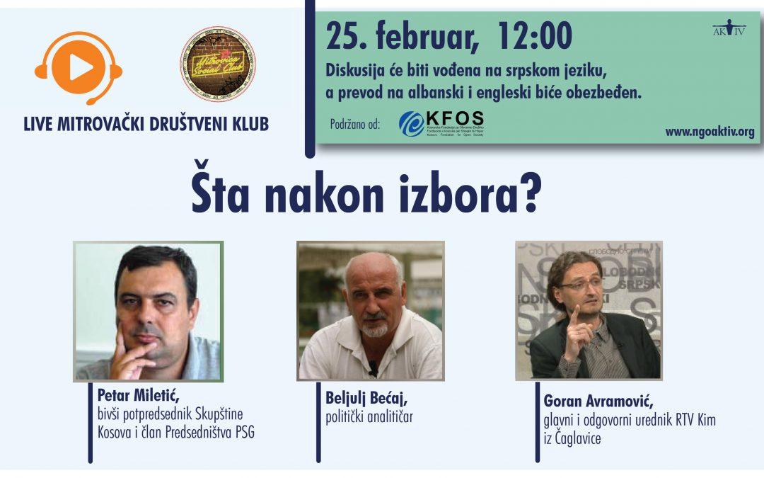 """MSC debata """"Šta nakon izbora?"""", 25. februara od 12h"""