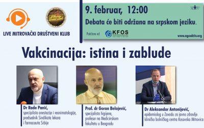 """MSC debata """"Vakcinacija: istina i zablude"""", 9. februara od 12:00"""